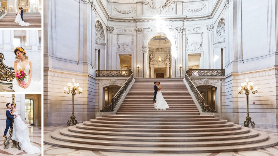 stunning shot of couple alone on staircase of san francisco city hall