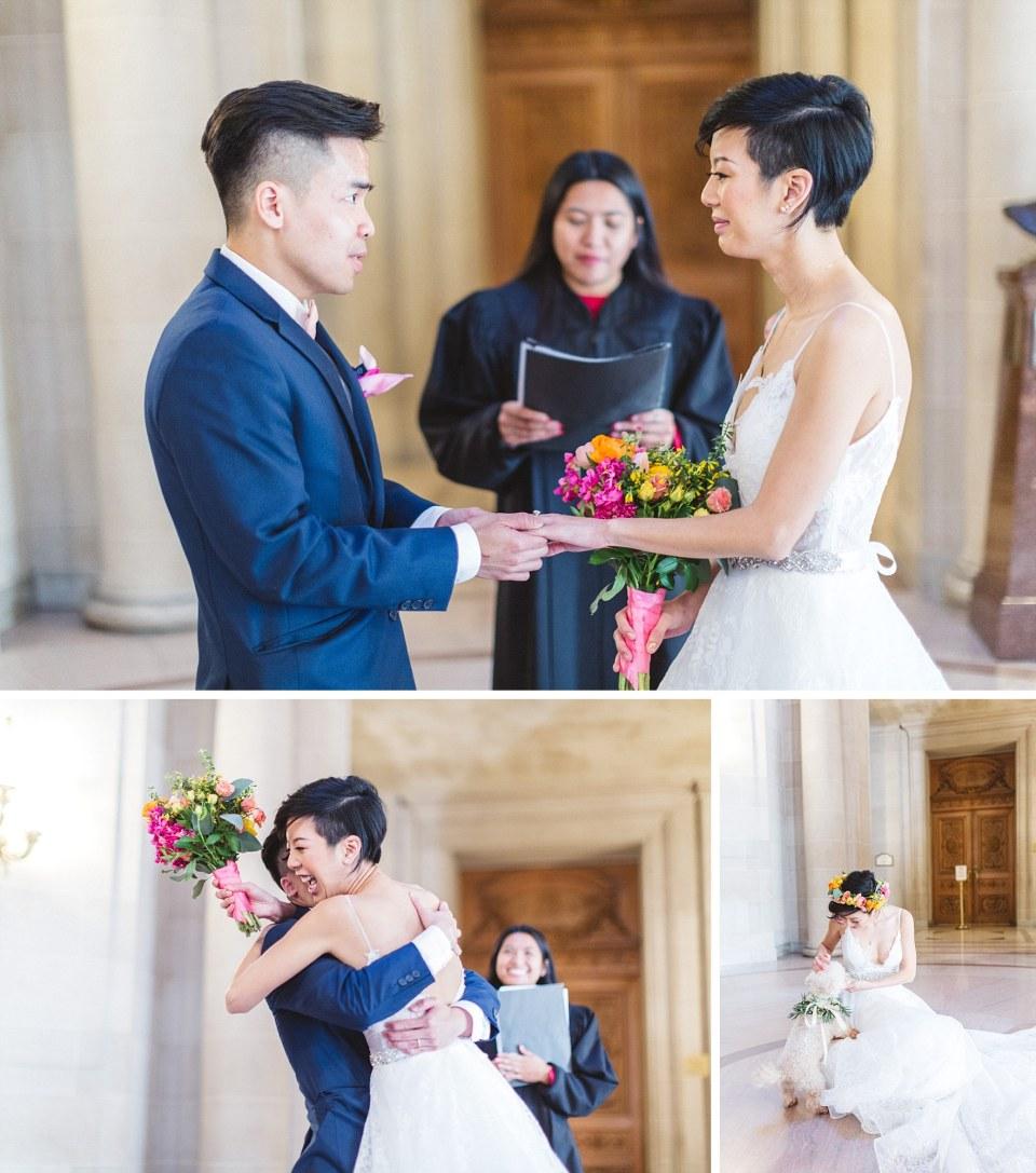 couple taking wedding vows at san francisco city hall