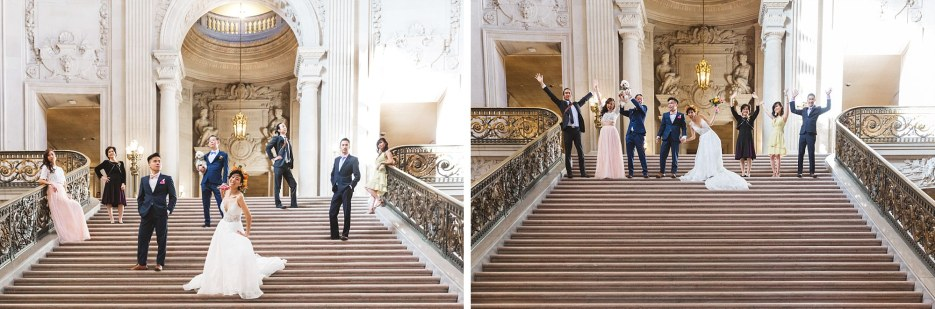 wedding party on staircase of san francisco city hall