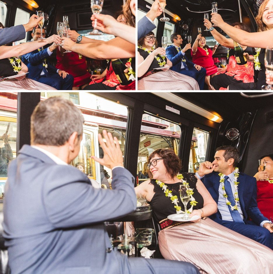 wedding celebration in limo in san Francisco