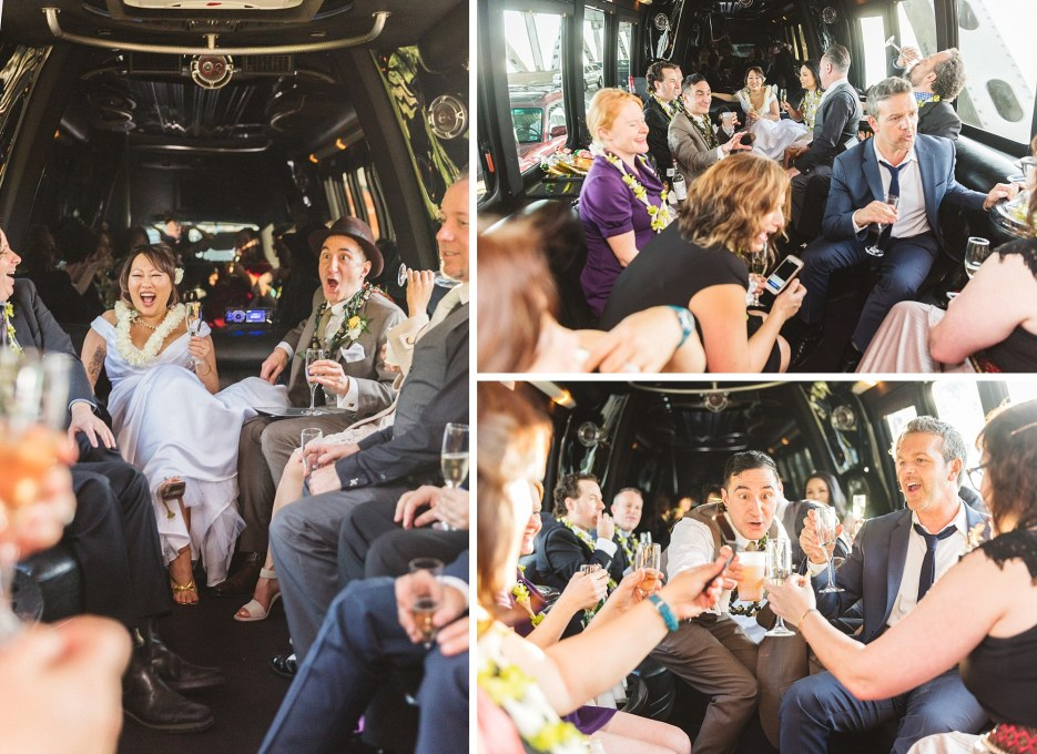 san Francisco wedding couple drinking in back of limo