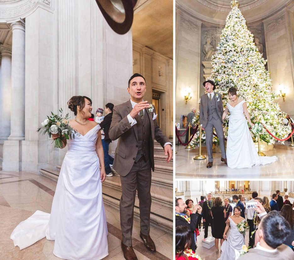san francisco city hall wedding at christmas
