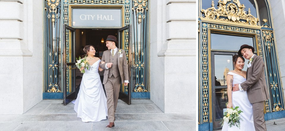 just married couple walking out of San Francisco city hall