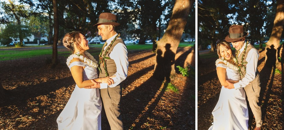couples wedding photography with shadow of couple on redwood trees