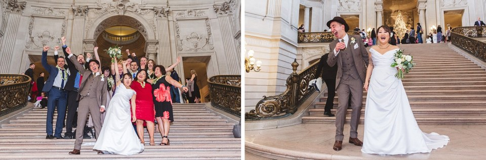 small family group at san francisco city hall wedding posing on stairs