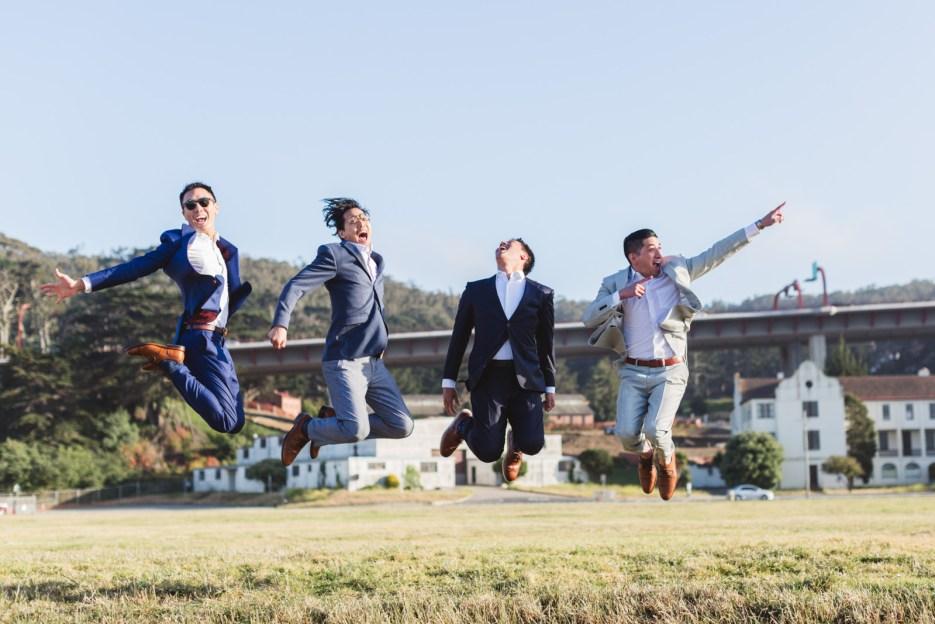 san francisco crissy field wedding photography groomsmen