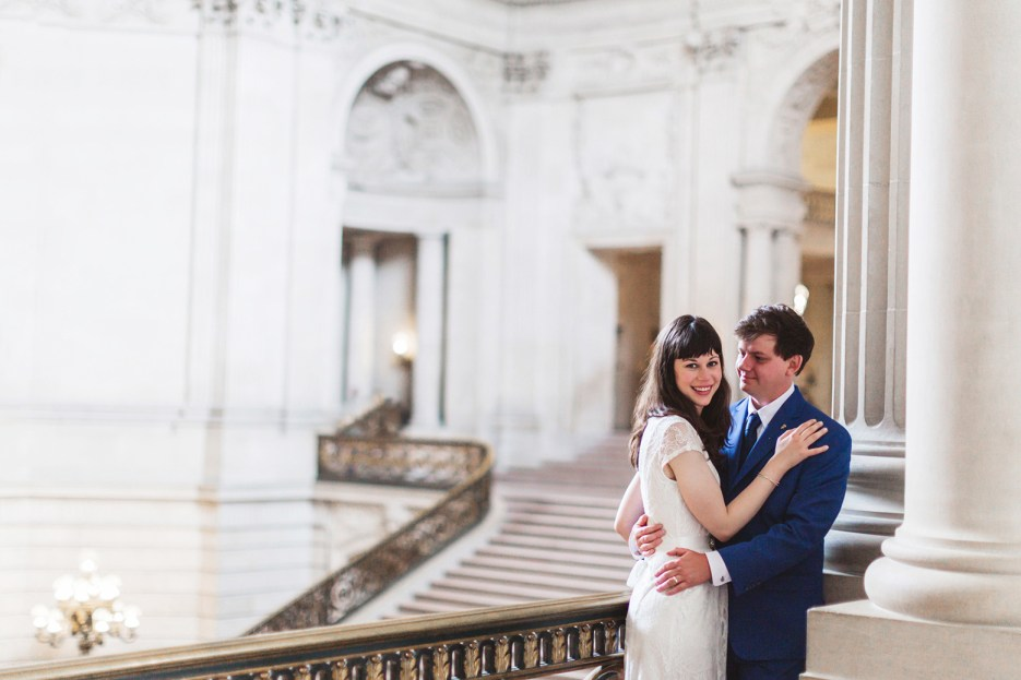 couple portrait after joyful sf city hall wedding