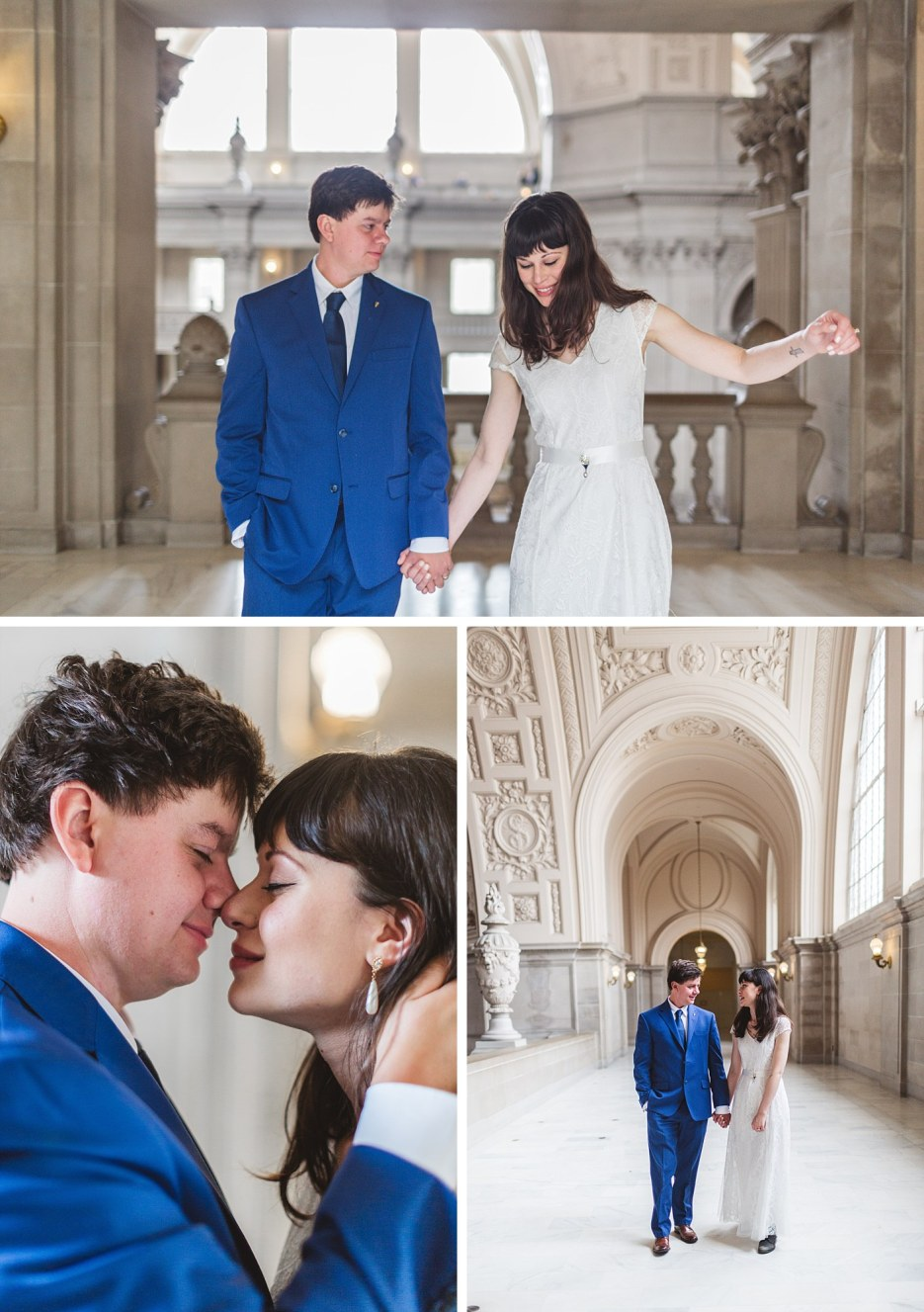 collage of couple portraits at SF city hall