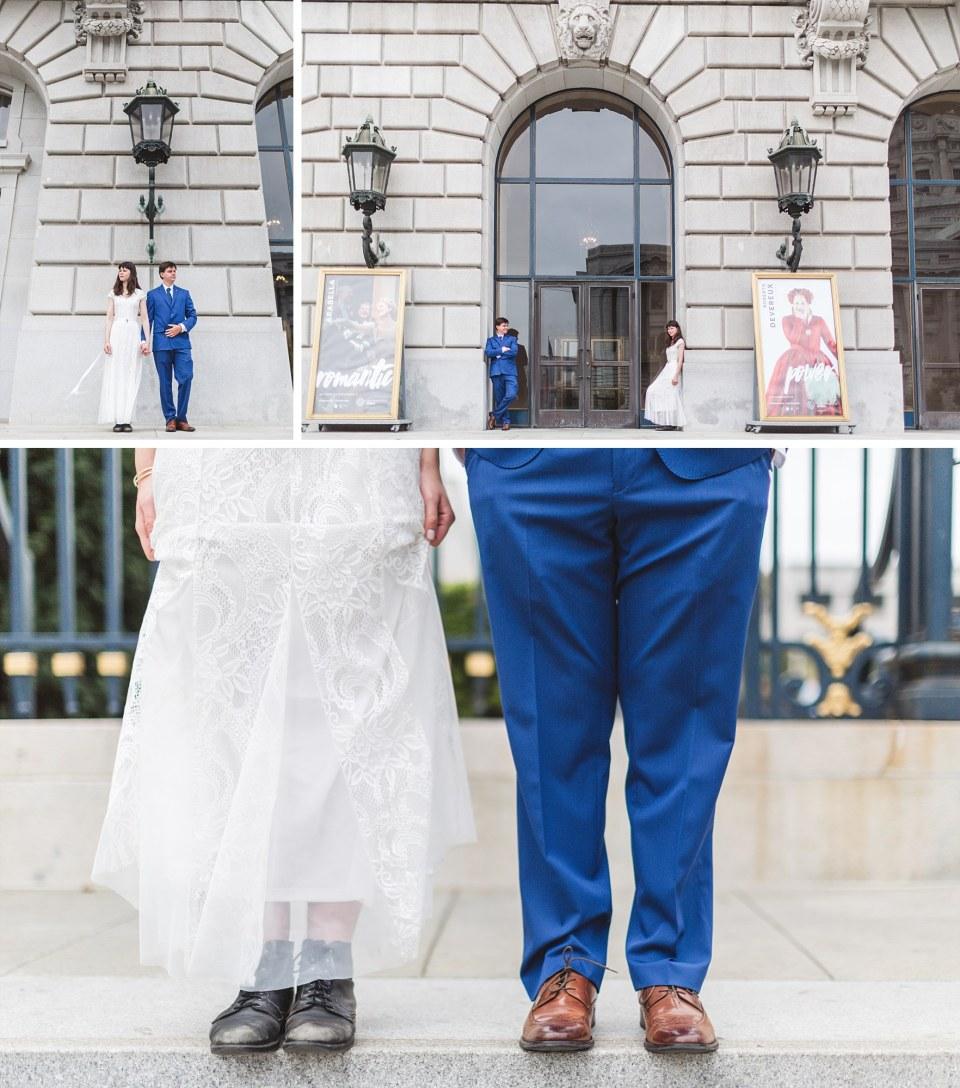 wedding photography of couple posing outside san francisco ballet