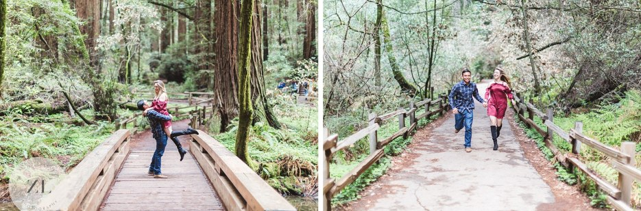 couple running toward camera at muir woods engagement session