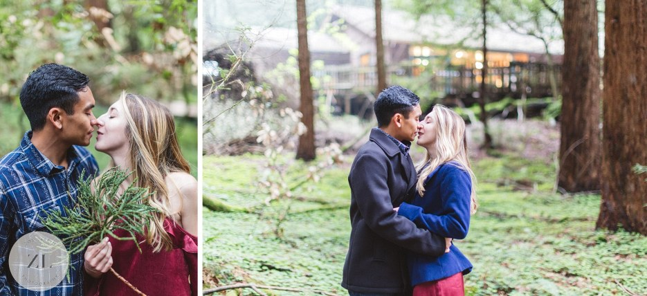 engaged couple kissing in muir woods