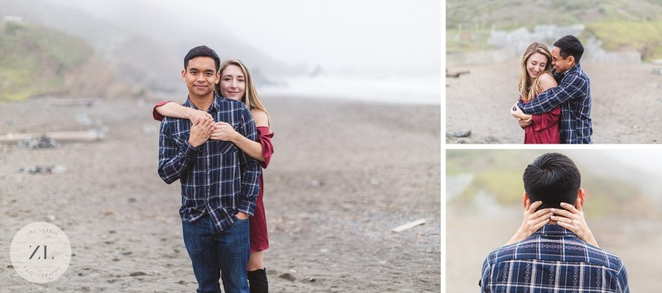 collage of muir beach engagement images marin in the fog