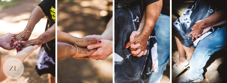 collage of couple holding hands with mehendi