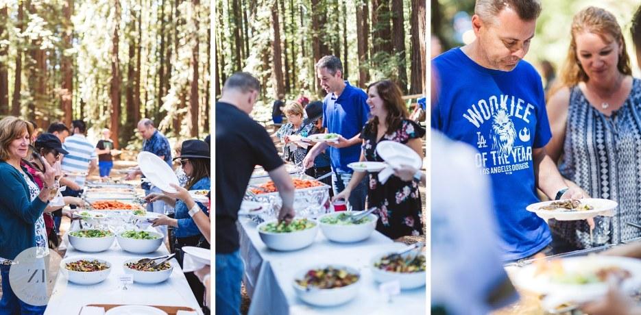oakland redwood wedding guests eating