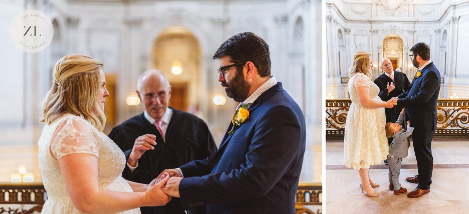 city hall wedding ceremony couple facing each other on mayor's balcony