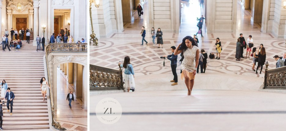 bride walking grand staircase at city hall