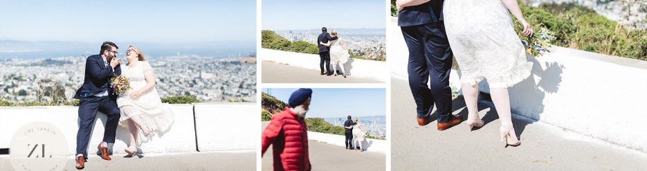 collage of images of just married couple at twin peaks san francisco