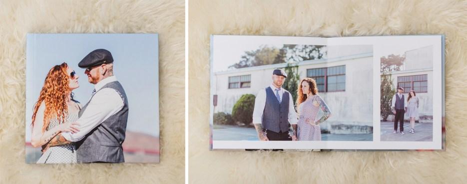 sample of wedding photo book on sheepskin rug
