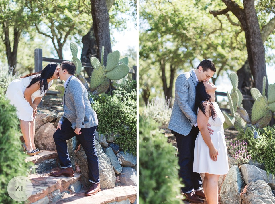 couple of steps at winery engagement shoot at Kuleto Winery, Napa Valley
