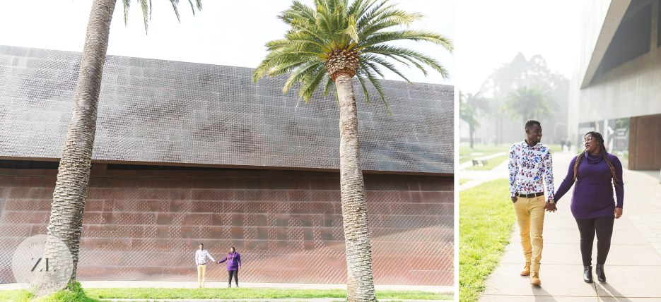epic wide shot of couple engagement photography at de young museum san francisco