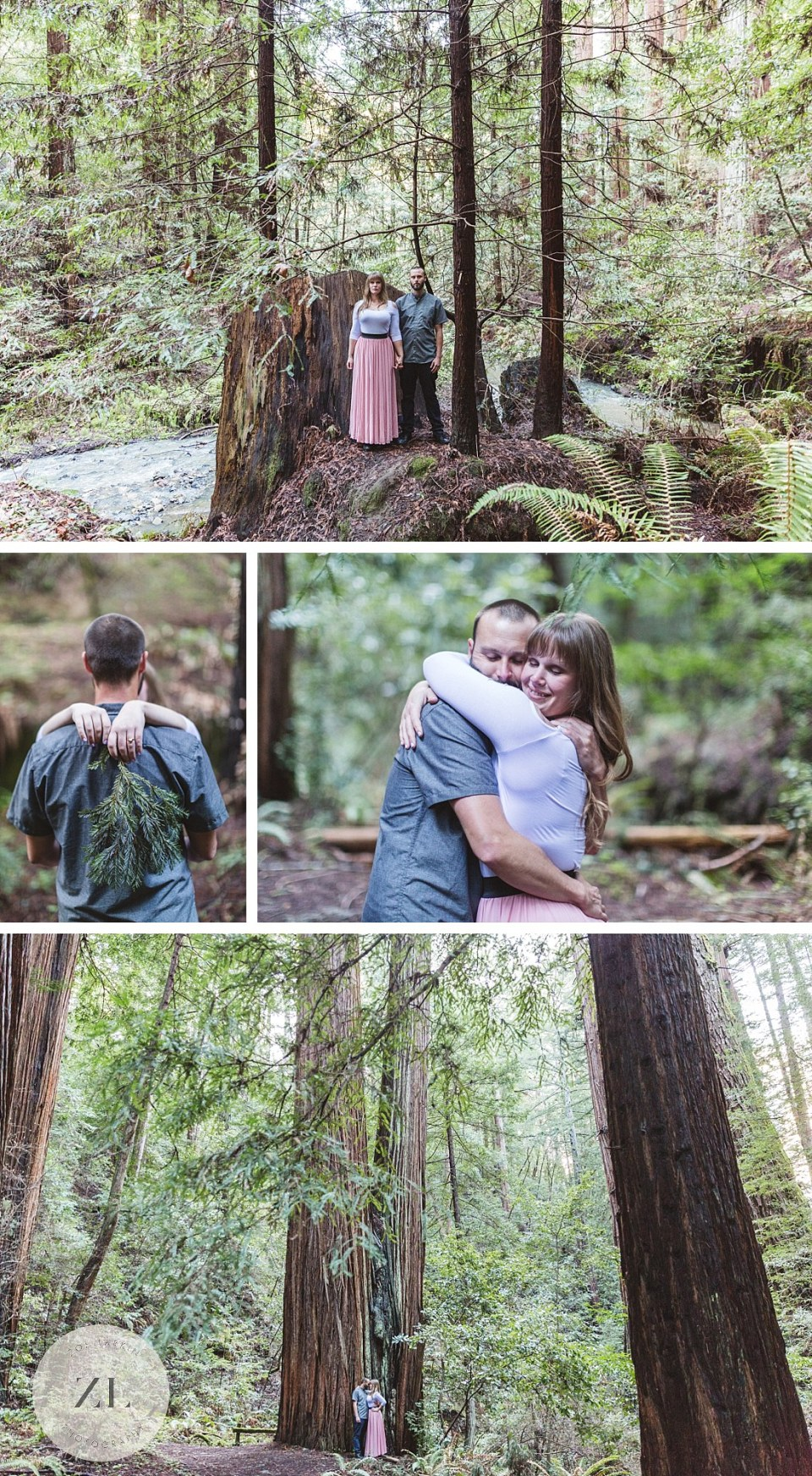 redwood forest engagement photography shoot near San Gregorio