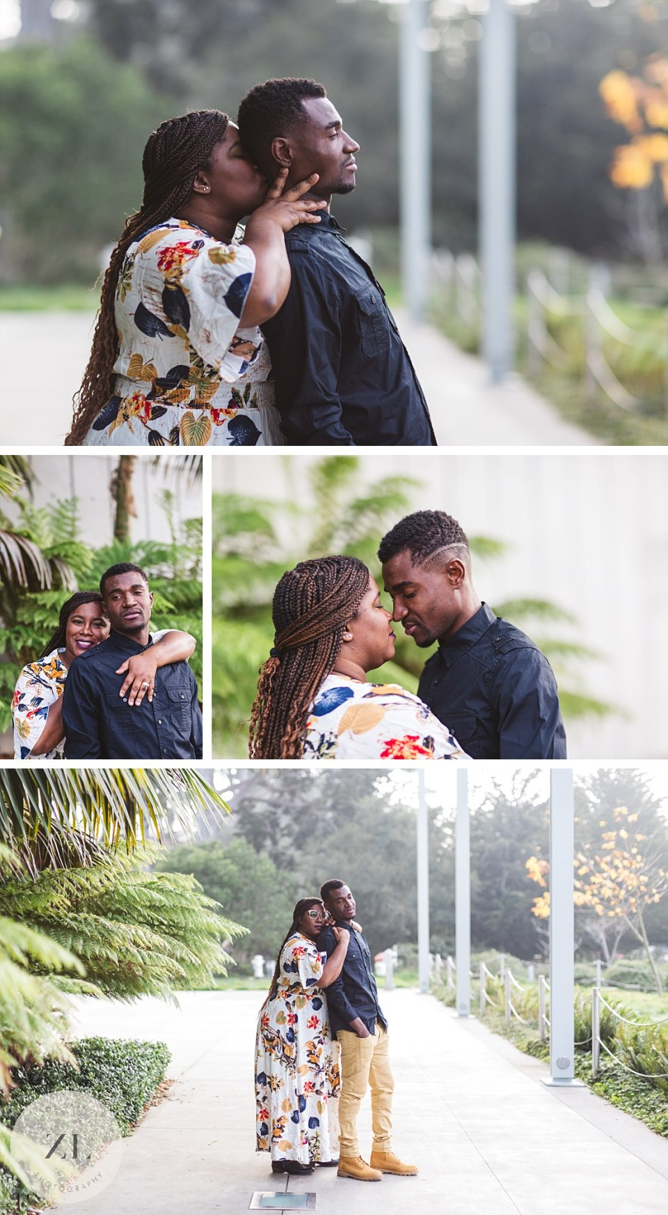 posed couples portraits outside california academy of sciences - Golden Gate Park couple shoot