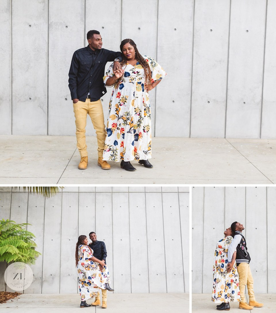 concrete wall background for hip couples portraits outside California academy of sciences Golden Gate Park couple shoot
