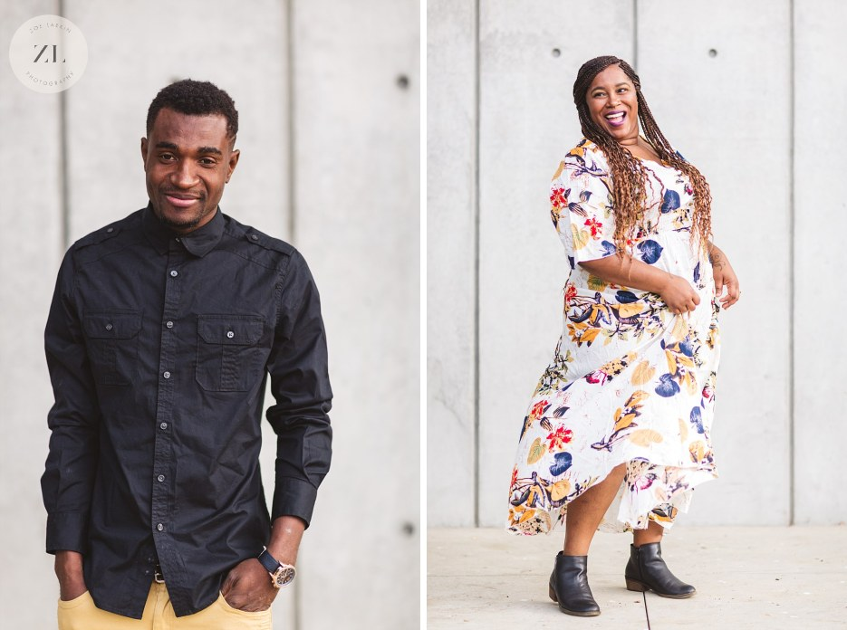 individual portaits at engagement shoot with plain concrete walls