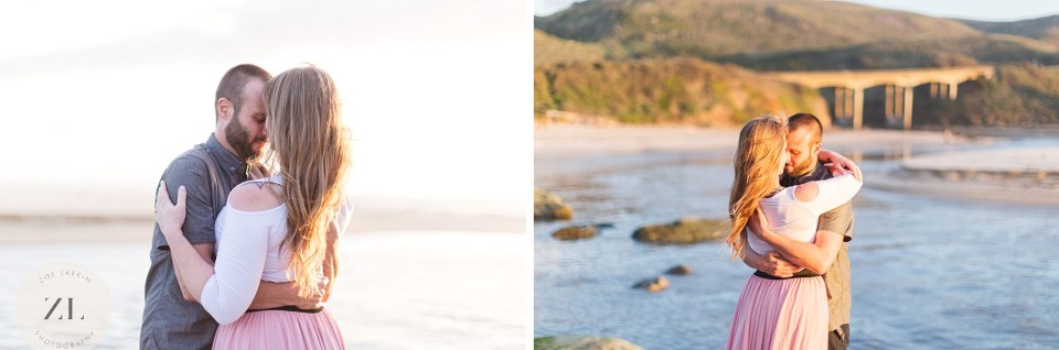 San Gregorio beach engagement photos at sunset