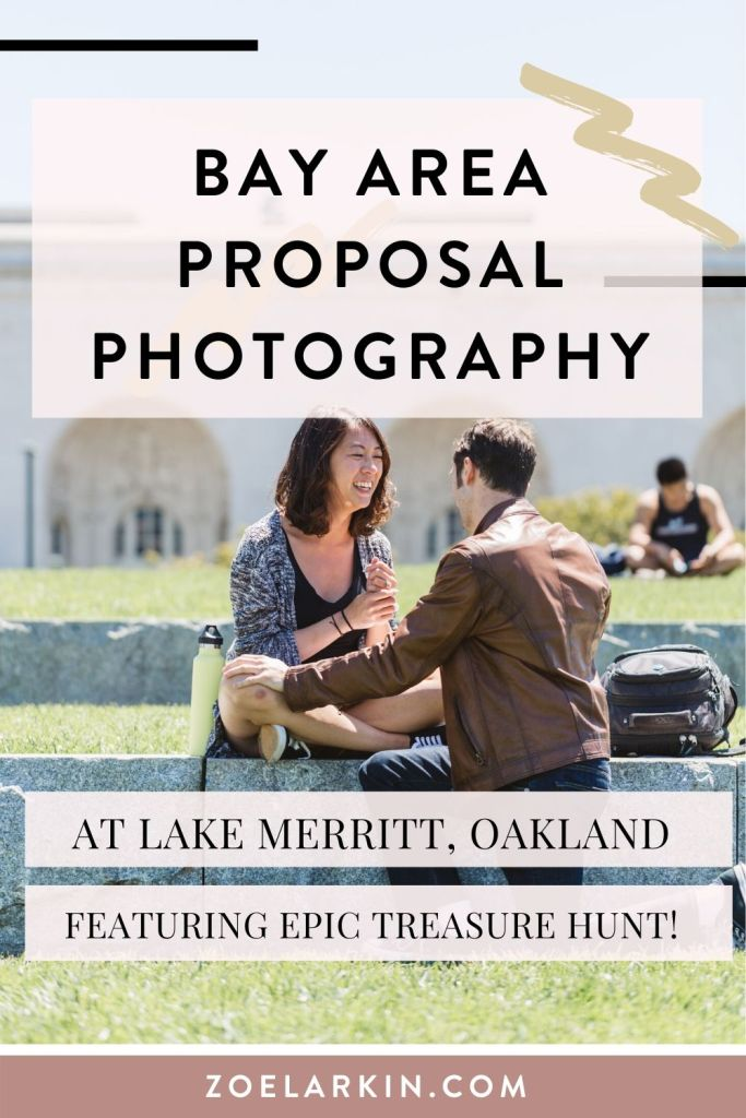 Bay Area proposal photography at Oakland Lake Merritt! Looking for an awesome photographer who'll work closely with you to capture your proposal when your fiance says YES?! Check out this couple's story of their unique treasure hunt proposal around the gorgeous Amphitheater of Lake Merritt and learn about a totally unique marriage proposal idea involving solving all the clues! Your prize is your engagement ring! | #proposalphotography #engagementphotography | Zoe Larkin Photography