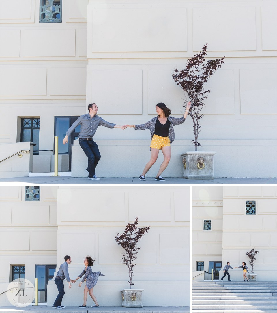 Bay Area proposal photography shoot on scottish rite center opposite lake merritt oakland