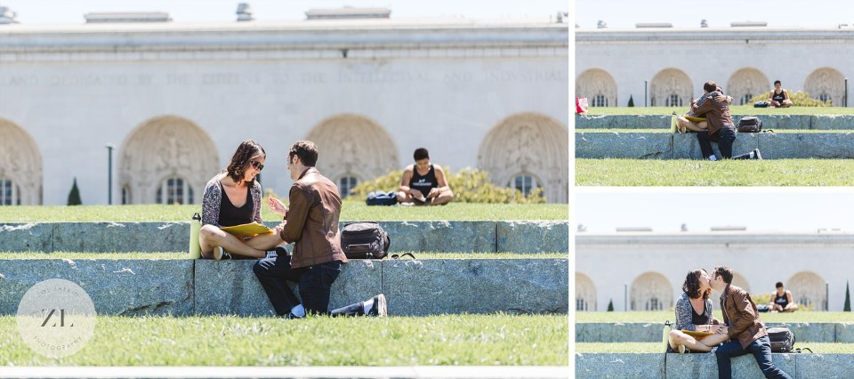 Bay Area proposal photography - Man proposing to fiance right next to Lake Merritt