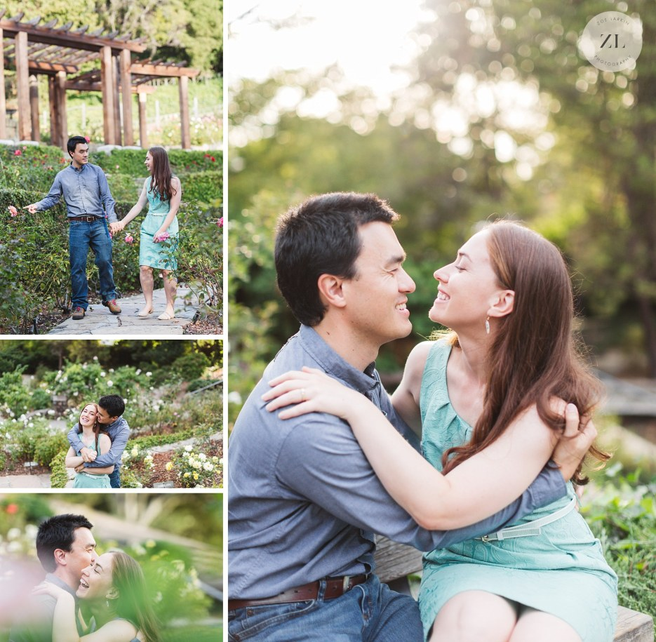 sweet natural rose garden engagement photo collage