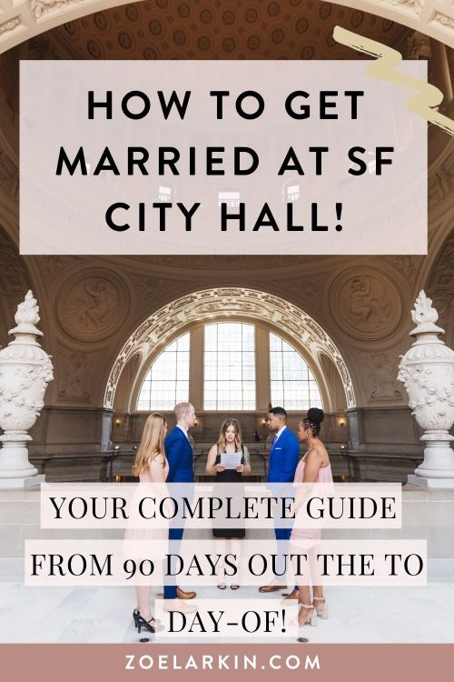 This guide takes you through the whole process of how to get married at SF City Hall! I know how overwhelming it can be. It's so hard to find relevant, up to date information written in plain English, am I right? Well, I have you covered.Everything from booking your license appoinment, ceremony appointment, finding your wedding vendors, all the way through to the planning process (which I work with you on, always giving my helpful tips!). Finally the day itself comes around and you're armed with all the knowledge you need for a smooth, easy, efficient, stress-free and FUN wedding day! Whether you're having an intimate City Hall elopement, a 6-guest ceremony in the rotunda or a 100-guest traditional ceremony in one of the private areas, this guide is the BEST place to start! #cityhall #sanfranciscowedding #sfcityhall #weddingplanning #sanfranciscoelopement