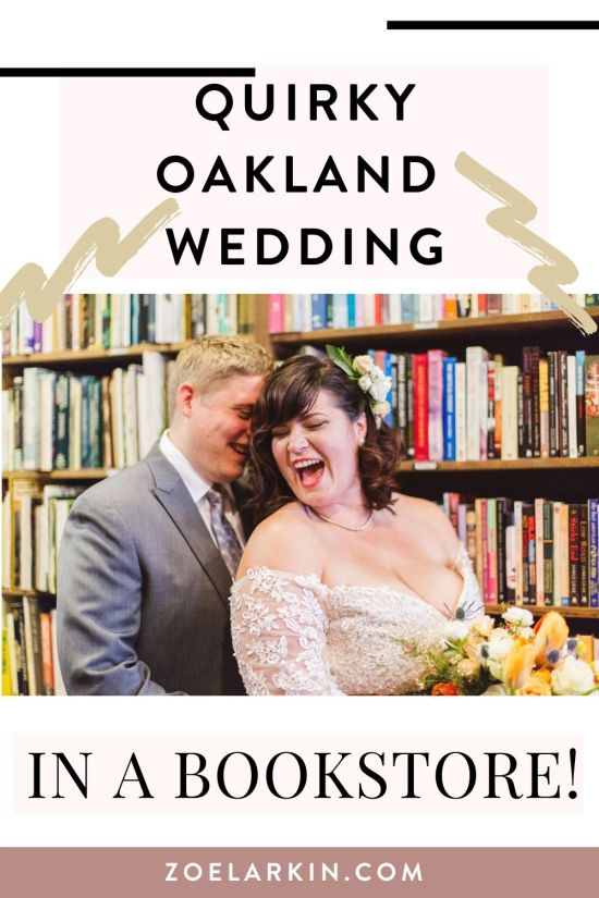 Ever dreamed of a vintage bookstore wedding? Well, here it is, your dreams have come true! Lauren married Scott in Own & Co in Oakland, an absolutely charming and quaint vintage bookshop in Oakland, CA. Surrounded by tens of thousands of books, this sweet Oakland couple tied the knot! | #bookstorewedding #weddingphotography Zoe Larkin Photography