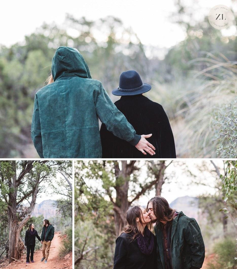 back of couple at sedona Arizona engagement photoshoot