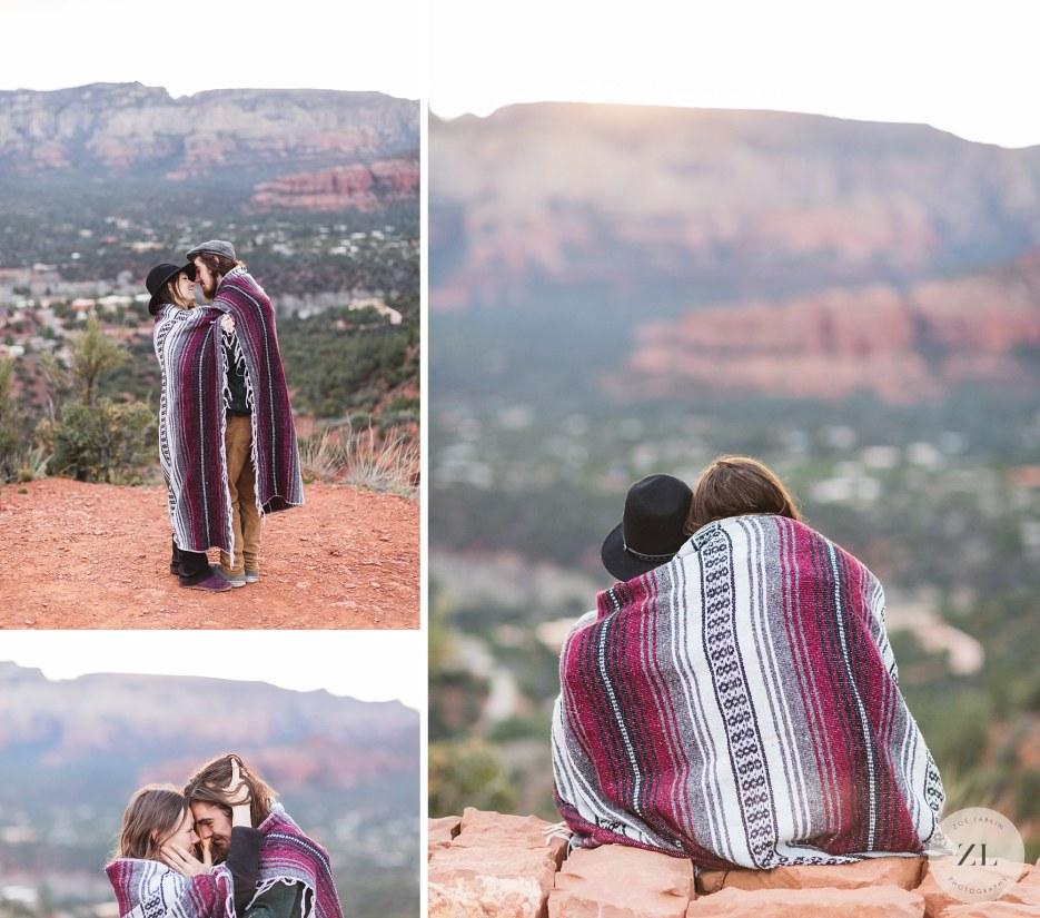 couple wrapped in blanket watch beautiful sunrise in sedona