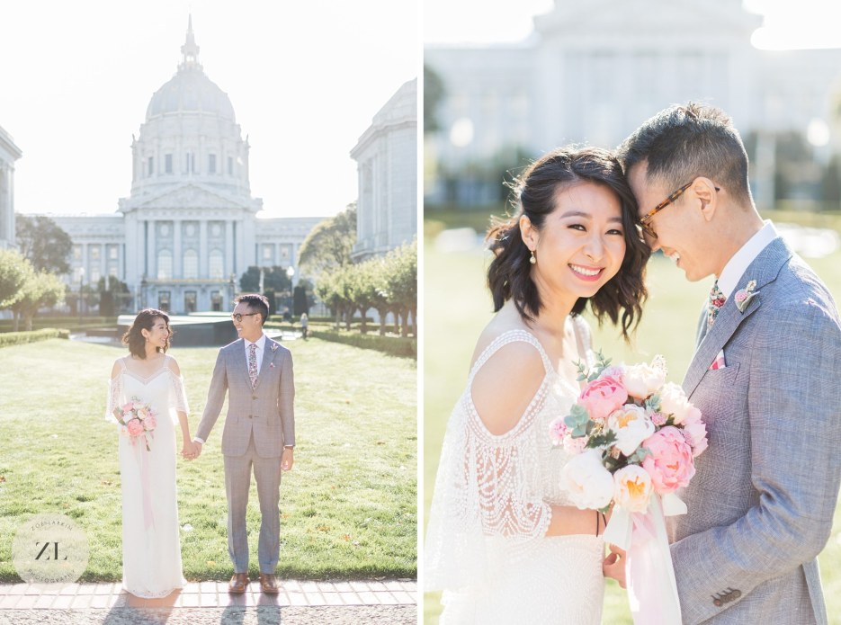 couples photos outside sf city hall