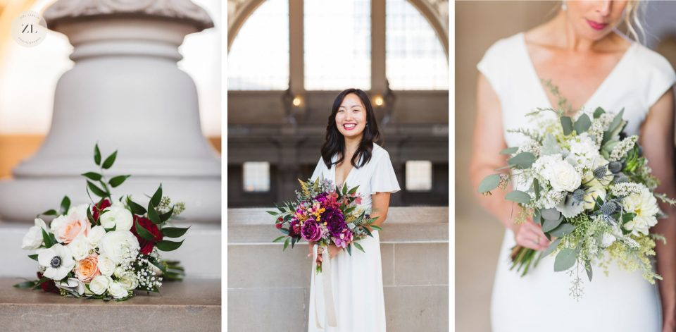 collage of 3 wedding bouquets - how to have a San Francisco City Hall wedding