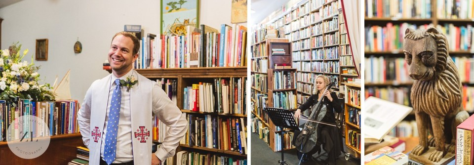 vintage bookstore quirky wedding