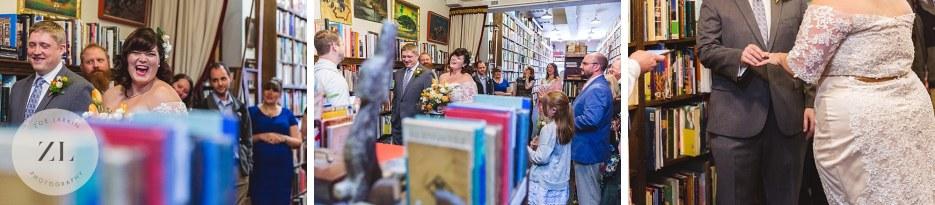 quirky quaint vintage bookstore wedding ceremony oakland