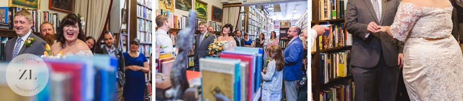 quirky quaint vintage bookstore wedding ceremony oakland