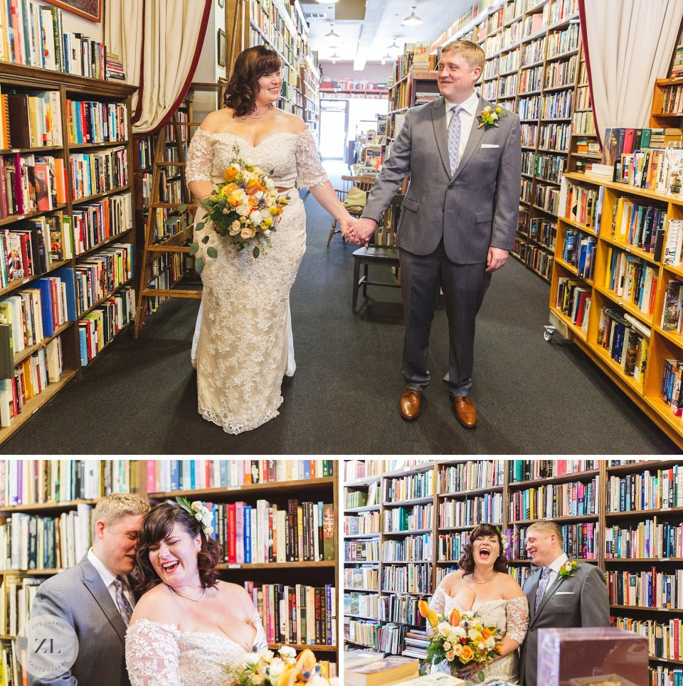 creative couples portraits at oakland east bay vintage bookstore wedding