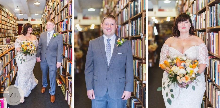 bride and groom sweet little bay area bookstore wedding