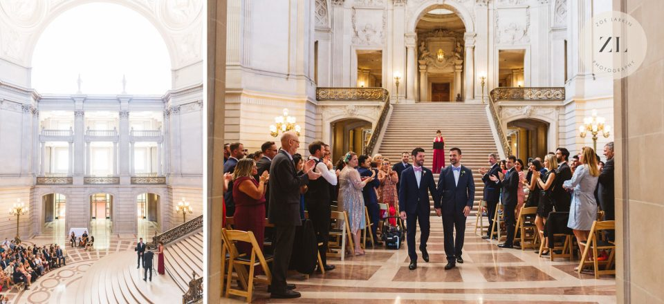 same sex couple getting married in San Francisco City Hall having rented out the whole building for their wedding | Zoe Larkin Photography