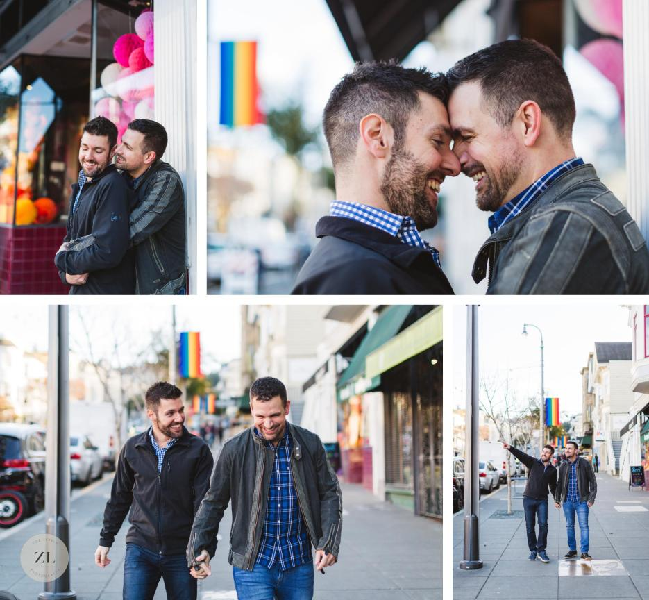 gay engaged couple in castro engagement session san francisco