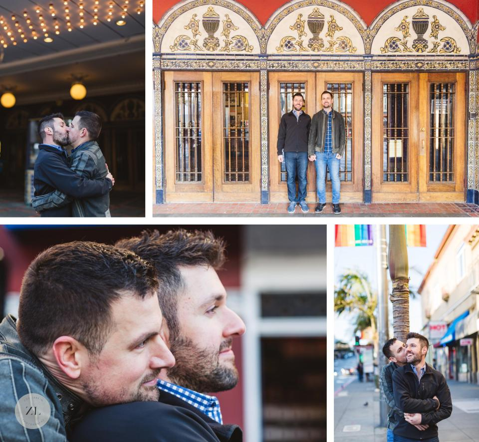 castro theatre san francisco engagement gay couples photos