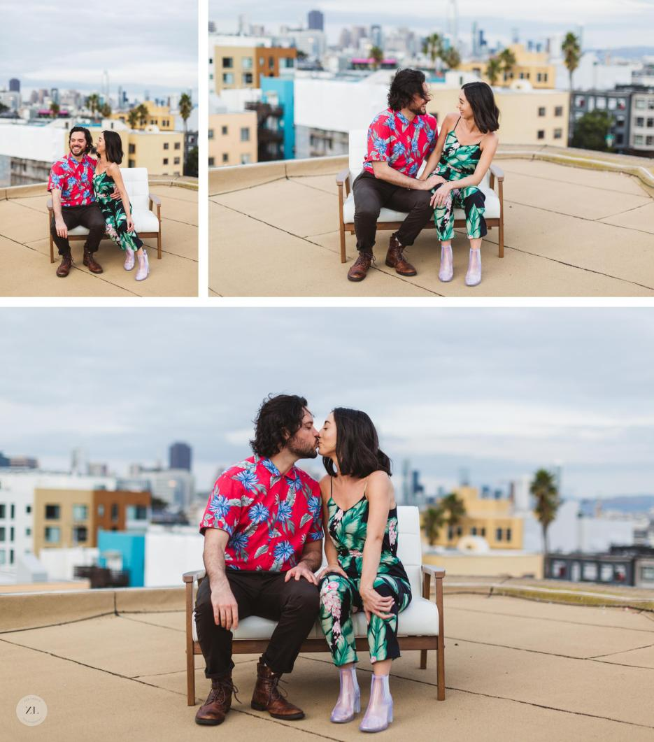 rooftop engagement photography with san francisco skyline in background