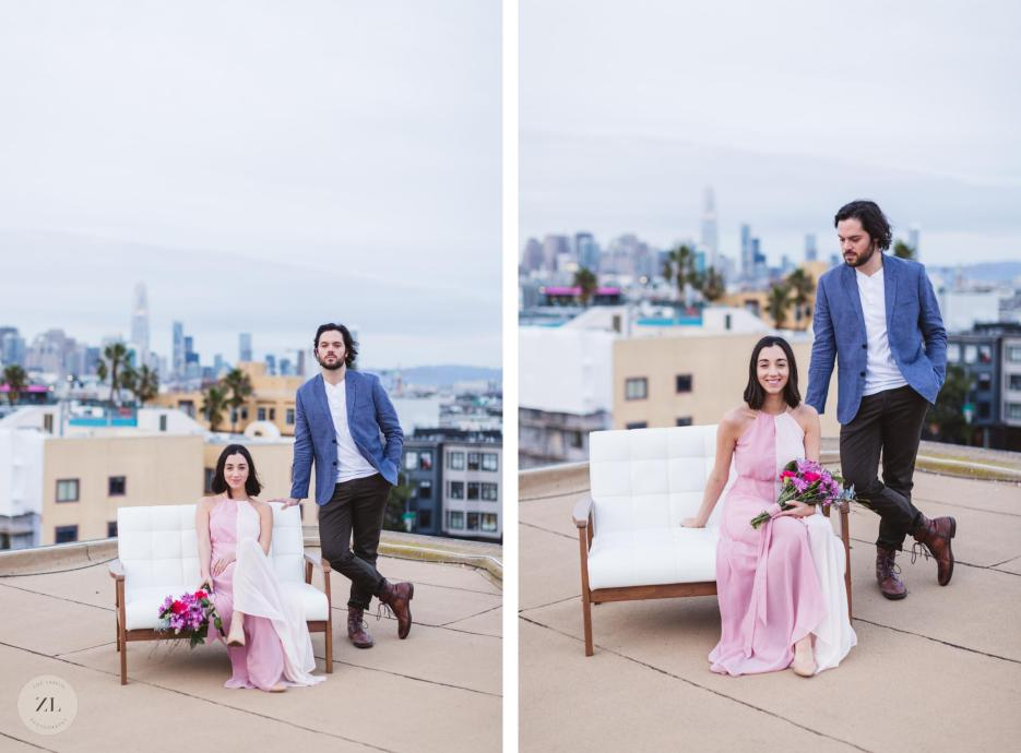 san francisco engagement photography with hip couple long pink dress and formal linen jacket