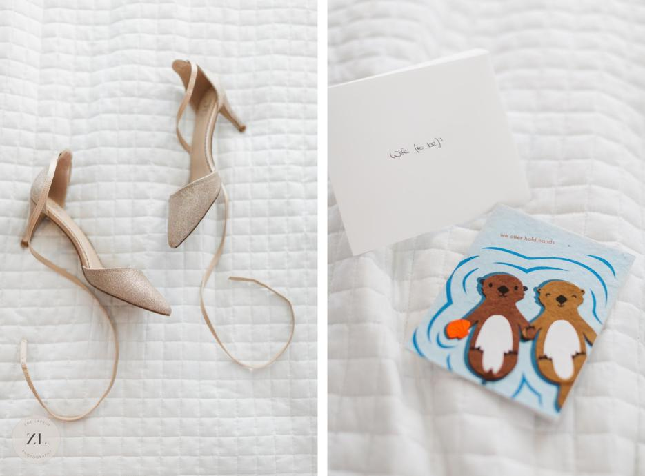 all white wedding details shoes and card